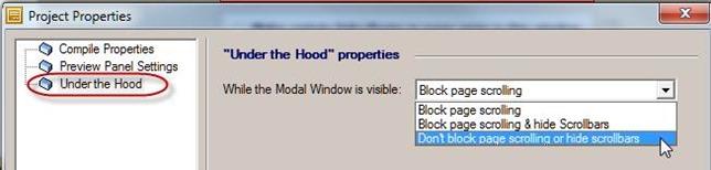 modal window scrolling choices