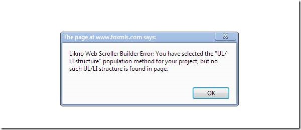 slider scroller error message