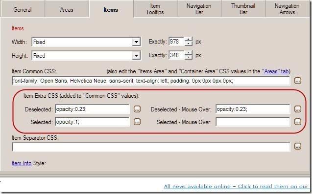 scroller slider item CSS properties