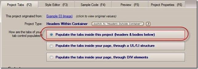 tab content population method