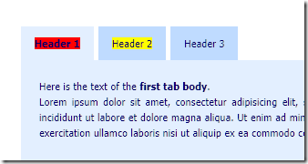highlighted text in tab header