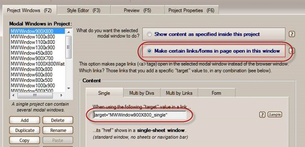 modal window page links settings