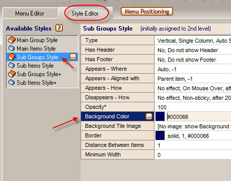 2. How to change the Background Color property.