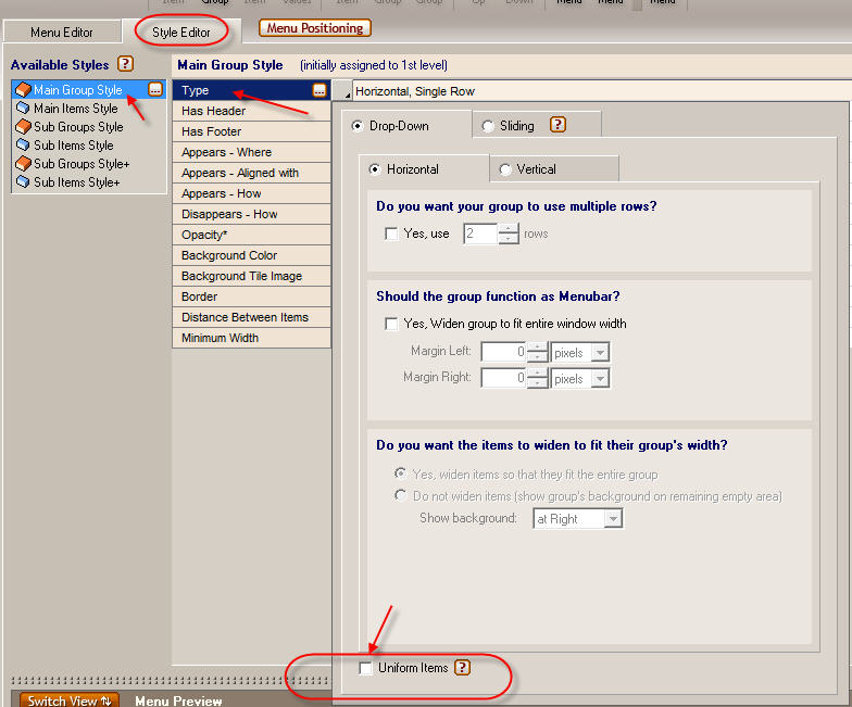 5. How to specify the Uniform Items option of a group.