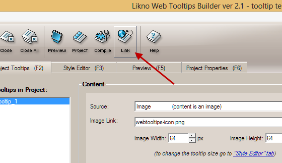 link jQuery Tooltip to a page