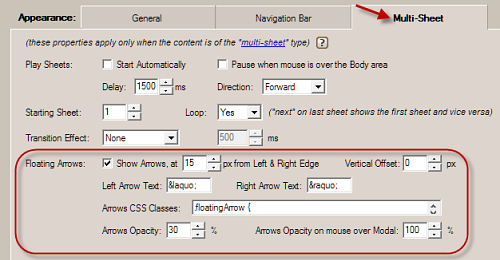 jquery modal windows floating arrows