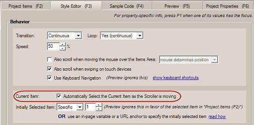 jquery slider scroller current item