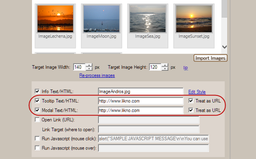 jquery scroller slider treat as URL