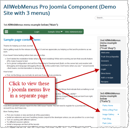 joomla menu demo page