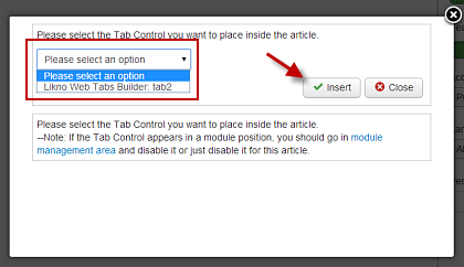 Joomla Tabs insert tab control to article