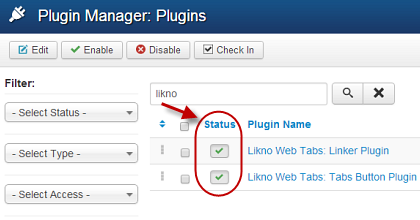 Joomla Tabs Plugins enabled