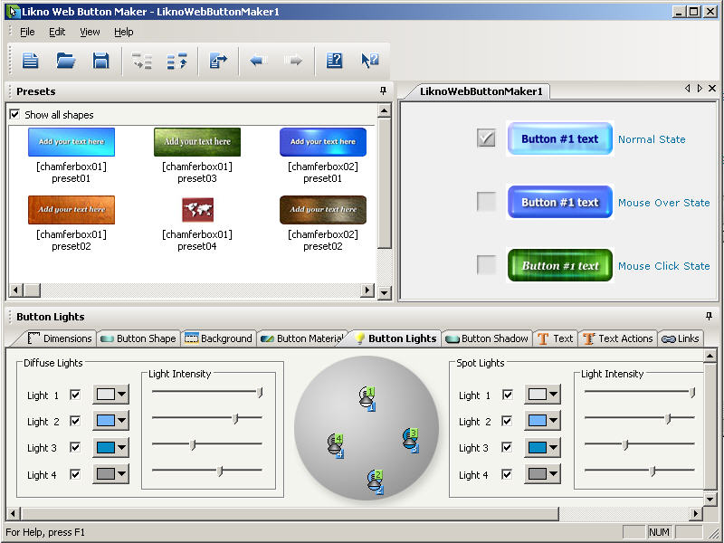 Click to view Likno Web Button Maker Free 1.4 screenshot