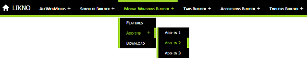 JavaScript responsive menu example above green line version 1