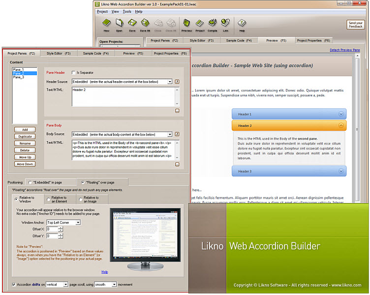 Likno Web/jQuery Accordion Builder screenshot