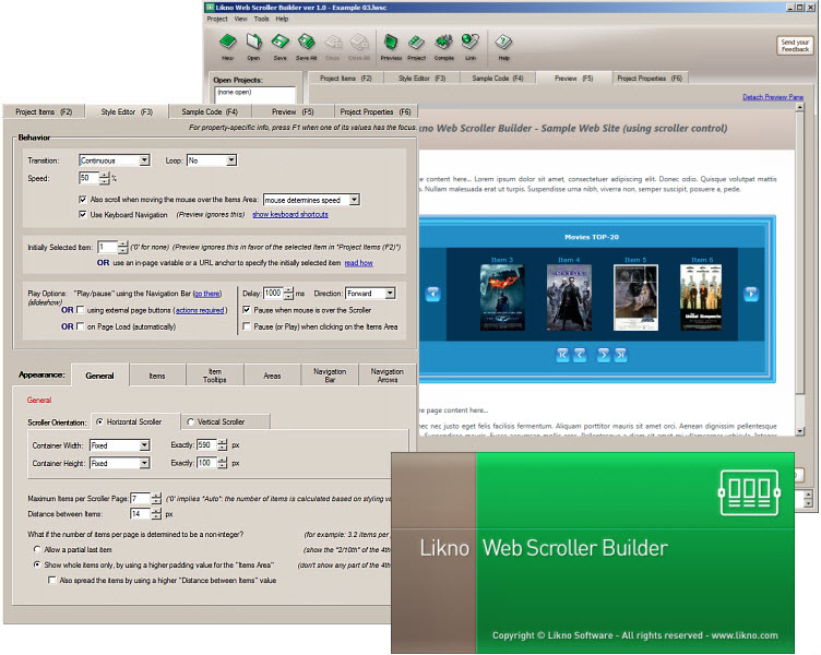 Windows 7 Likno Web Scroller jQuery Slider Builder 2.1.148 full