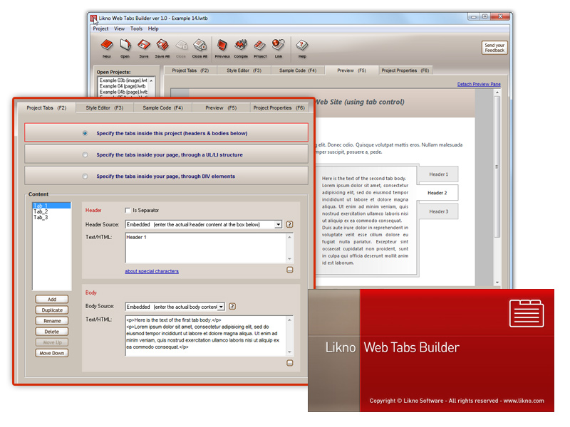Click to view Likno Web/HTML Tabs Builder 2.0.210 screenshot