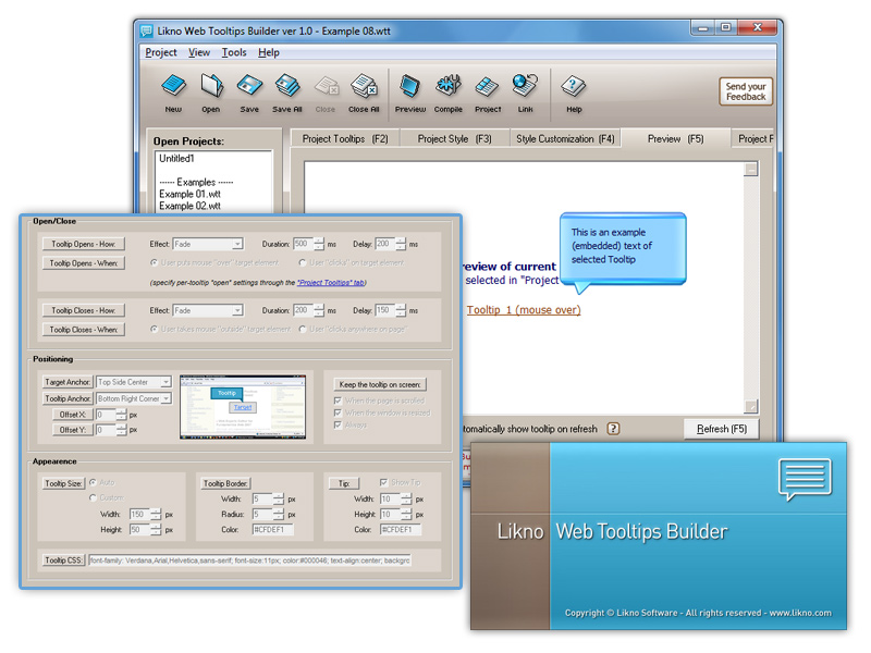 Click to view Likno Web/HTML Tooltips Builder 2.0.210 screenshot