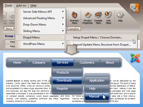 AllWebMenus Joomla Menu Addin Screen shot